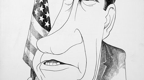 'Tricky Dick' was de bijnaam van Nixon, hier met extra lange neus.